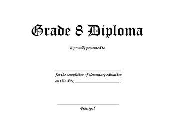 Grade 8 Graduation Diploma Certificate