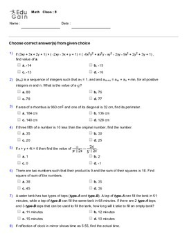 Grade 8 HOTS, Mathematical Olympiad, IMO, AMC Worksheet by