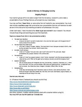 Grade 8 History: A Changing Society Inquiry Project