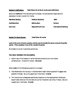 Grade 8 History: Confederation of Canada Test