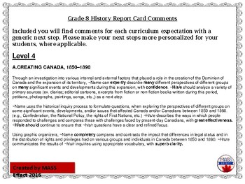 Grade 8 History Report Card Comments, ALL 3 TERMS!