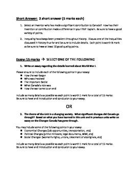 Grade 8 History: Unit 3 Test