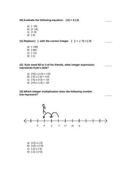 Grade 8 Integer Math Test