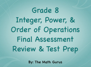 Grade 8 Integer, Power, and Order of Operations Review & Test Prep