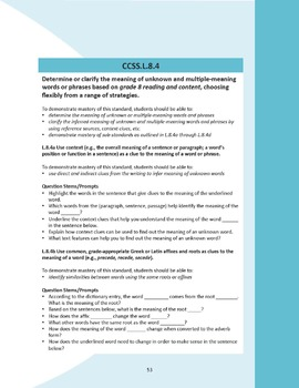 Grade 8 Language Common Core Question Stems and Annotated Standards