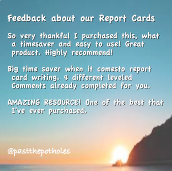 Report Card Comments - Grade 8 - Middle School - LANGUAGE - Assessment
