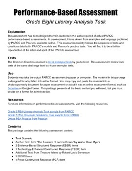 Grade 8 Literary Analysis Performance-Based Assessment wit