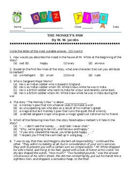 Grade 8 Literature Quiz.The Monkey's Paw