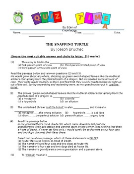 The Snapping Turtle by Joseph Bruchac - Quiz/Assessment