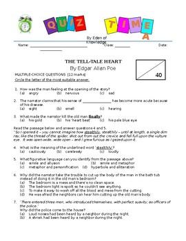 The Tell Tale Heart by Edgar Allan Poe - Quiz/Assessment