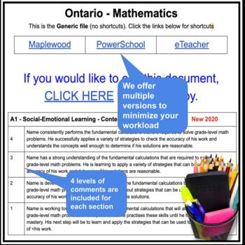 Report Card Comments - MATH - Ontario Grade 8