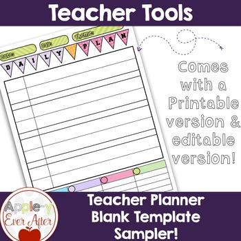 Daily Planner Template - Teacher Binder