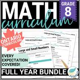Math Unit Bundle: Entire Year of Grade 8 Math!  NEW Ontario Curriculum 2020