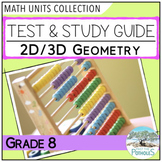 Geometry Unit Test and Study Guide (2D/3D shapes) - Grade 8 Math Assessment