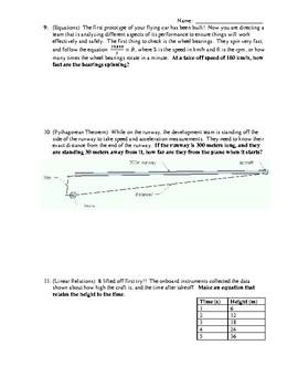 Grade 8 Math Final Exam Review Task