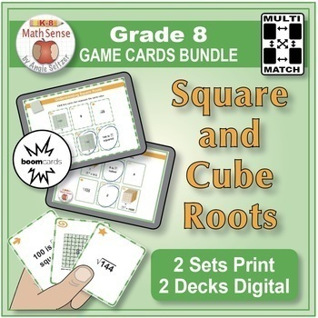 Square and Cube Roots: Grade 8 Math Task & Game Cards {Print/Digital Bundle}