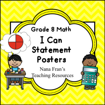 Grade 8 Math I Can Statement Posters Saskatchewan Curriculum