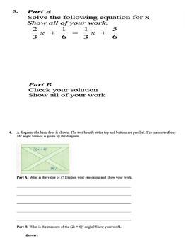 Grade 8 Math Practice Exam - Day 3