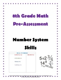 Grade 8 Math Pre-Assessment of Number System Skills