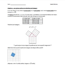 Grade 8 Math Review FRENCH