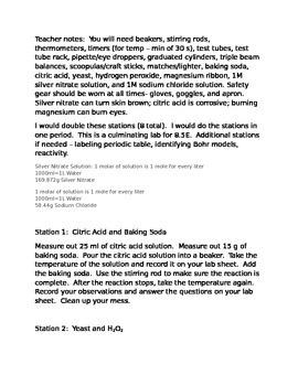 Grade 8 Matter Lab 8.5E