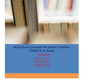 Grade 8 - Must Know Concepts for Linear Functions