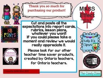 Grade 8 Ontario History Curriculum Chart