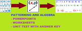 Middle School-->Patterns to Algebraic Expressions PPT, Worksheet, TEST INCLUDED!