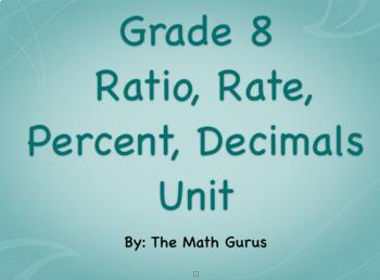 Grade 8 Ratio, Rate, Percent, Decimal Unit