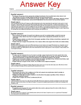 High School Reading Comprehension: Informational Text on the Special Olympics