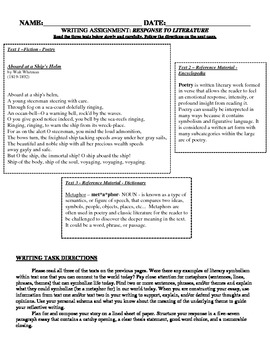 Grade 8 Response to Literature Text Dependent Writing Common Core Prompt Pack