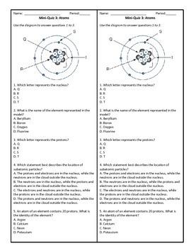 Grade 8 Science - Atoms Mini Quiz #3