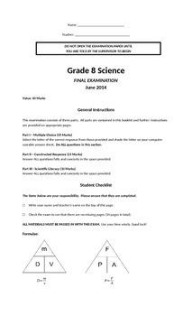 Grade 8 Science Final Exam