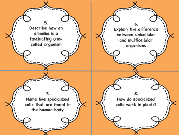 Grade  8 Science Task Cards for Cells, Tissues, Organs and Systems