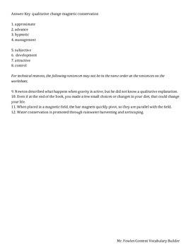 Grade 8 Science Vocabulary Builder 1