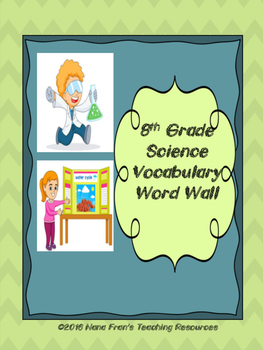 Grade 8 Science Word Wall Vocabulary Cards