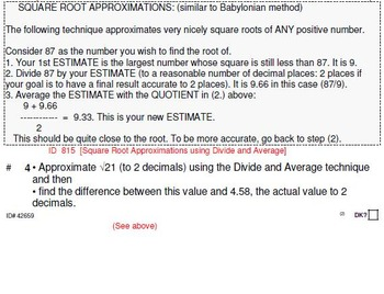 Grade 8 and up: SQUARE ROOT approximations for the GIFTED & CURIOUS