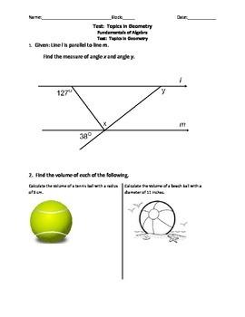 Grade 8 Test: Geometry Topics