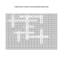 Expeditionary Learning Grade 8 Unit 1 Lesson 4 Crossword Puzzle