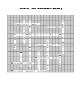 Expeditionary Learning Grade 8 Unit 1 Lesson 6 Crossword Puzzle