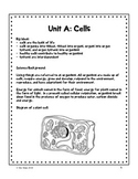 Grade 8 Unit A Cells - student workbook