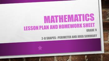 Grade 9 2-D shapes : perimeter and area summary