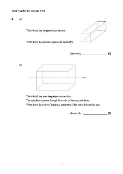 Grade 9 Algebra I & Geometry I Test