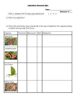 Grade 9 Bio Diversity Adaptation Quiz