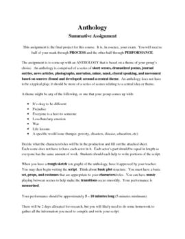Grade 9 Drama Anthology Summative Assignment