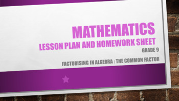 Grade 9 Factorising in Algebra : the common factor