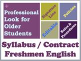 Grade 9 Freshmen English Syllabus EDITABLE Contract - High School Syllabus Style