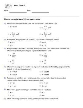 Grade 9 HOTS, Mathematical Olympiad, IMO, AMC Worksheet