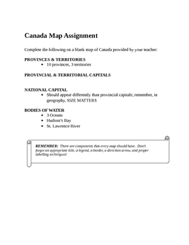 Grade 9 Map Of Canada Assignment.Geography Grade 9 Mapping Unit