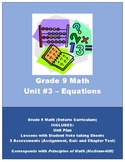 Grade 9 Math - Equation Unit